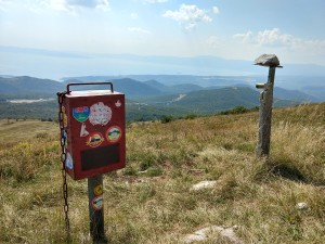 iron box for visitor's book on top Tuhobic with view on kvarner bay